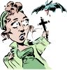 Woman Fending Off a Vampire Bat with a Cross clipart