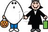 Kids in Halloween Costumes of a Ghost and a Vampire clipart
