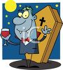 Vampire Drinking Blood Standing in Front of His Coffin clipart