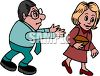 Cartoon of a Guy Stalking a Woman Who is Ignoring Him clipart