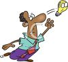 Cartoon of a Black Man Chasing an Elusive Idea or Thought clipart