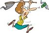 Cartoon of a Woman Trying to Catch a Dollar Flying Away clipart