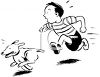 Cartoon of Little Boy Chasing His Run Away Dog clipart