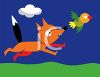 Cartoon of Fox Chasing a Bird to Eat clipart