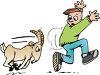 Cartoon of a Billy Goat Chasing a Scared Boy clipart