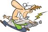 Cartoon of a Man Being Struck by Lightening clipart