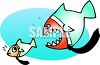 Big Fish Trying to Eat a Little Fish clipart