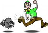 Raccoon Chasing a Scout clipart