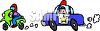 Cartoon of a Cop Car Chasing a Guy on a Motorcycle clipart