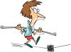 Cartoon of a Woman Walking a Tightrope clipart