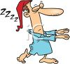 Cartoon of a Man Wearing a Nightcap Sleepwalking clipart