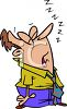 Cartoon of an Exhausted Man Asleep on His Feet clipart