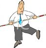 Cartoon of a Businessman  Balancing with a Pole clipart