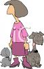 Cartoon of a Dog Walker with Two Pups clipart