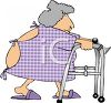 Elderly Woman Wearing a Hospital Johnny Using a Walker clipart