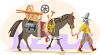 Old Cowboy Prospector Leading His Horse with All His Gear clipart