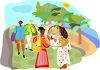 Ethnic People Walking in a Park by the Beach clipart