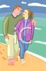 Couple in Love Walking Along the Beach clipart