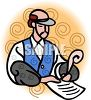 Old Fashioned Bookkeeper Writing with a Quill Pen clipart