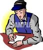 Bookie Writing on a Piece of Paper clipart