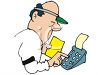 Bookie Using an Adding Machine clipart