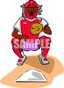 Ethnic Catcher Squatting Over Home Plate clipart