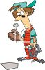 Cartoon Female Catcher with a Hole in Her Mitt from a Fast Ball clipart