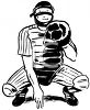 Black and White Vintage Baseball Catcher clipart