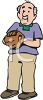 Cartoon of a Senior Citizen Playing Softball clipart