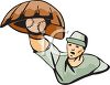 Baseball Player Catching a Ball Overhand clipart