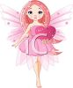 Angelic Girl with Wings Holding a Sparkling Heart clipart
