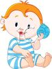 Cartoon Baby Holding a Seashell at the Beach clipart