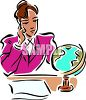 Businesswoman Looking at Globe Dreaming a Vacation clipart