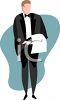 Waiter Dressed in a Tux clipart