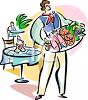 Waiter Carrying a Tray of Meats clipart