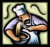 Pastry Chef Mixing a Bowl of Batter clipart