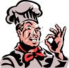 Chef Making an OK Sign with His Thumb and Forefinger clipart