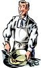 Cooking Instructor Mixing Food in a Bowl clipart