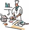 Chef Preparing Food in a Kitchen clipart