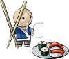 Japanese Character with Chopsticks and a Plate of Sushi clipart