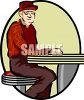 Old Man Sitting at a Lunch Counter clipart