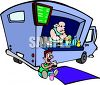 Man Working in a Lunch Truck clipart