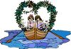 Romantic Kids in a Boat with a Heart Shaped Vine clipart