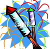 Firework Rockets Shooting Off - Royalty Free Clip Art Image
