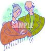 Elderly Couple Embracing - Grandparents Day clipart