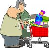 Cartoon of a Couple Christmas~ Shopping clipart