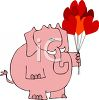 Elephant Holding Heart Shaped Balloons clipart