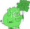 Elephant Holding Shamrock Shaped Balloons clipart