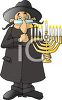 Cartoon of a Jewish Rabbi Holding a Menorah clipart