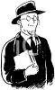 Vintage Black and White Rabbi clipart